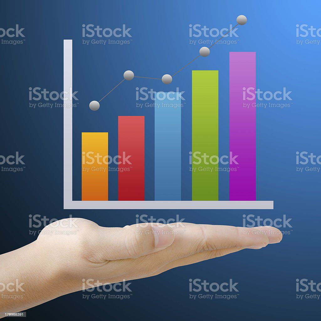 Business graph on hand. royalty-free stock photo