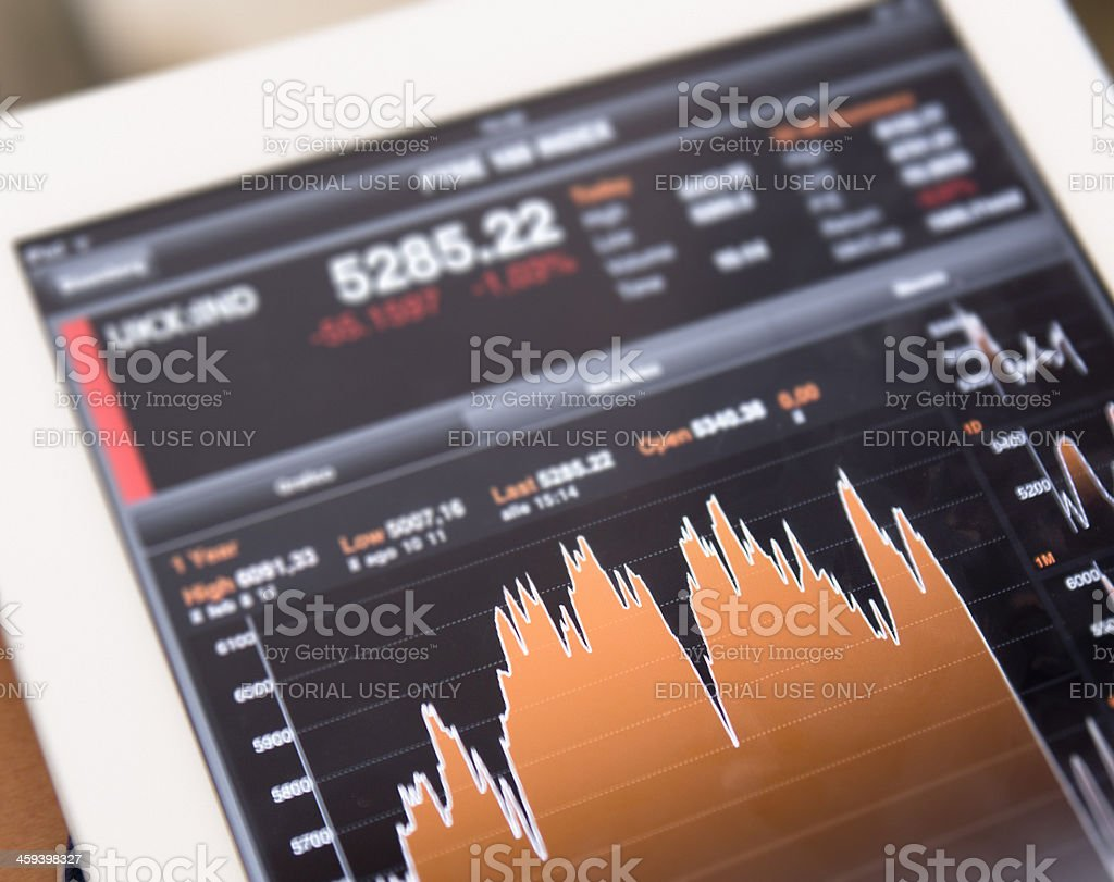 Business Graph on tablet LCD royalty-free stock photo