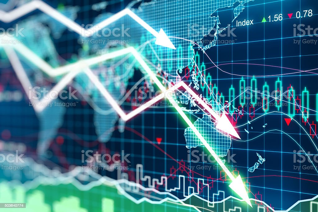 Business graph with arrows tending downwards stock photo