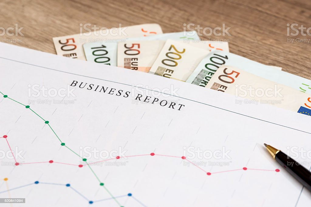 business graph with euro bills stock photo