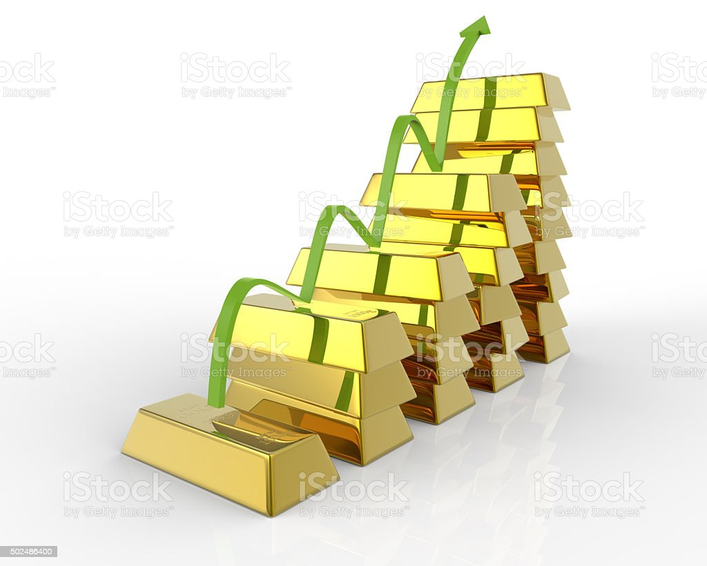 Business graph with gold bars and arrow stock photo