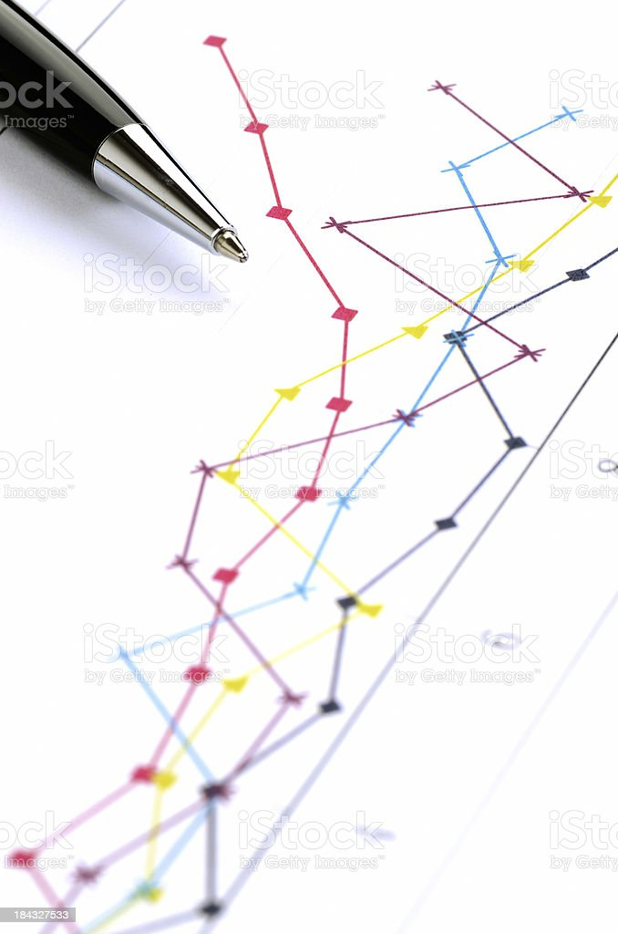Business graph with pen stock photo