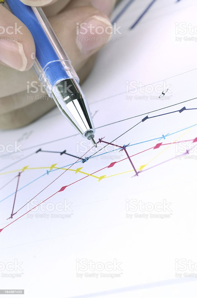 Business graph with pen royalty-free stock photo