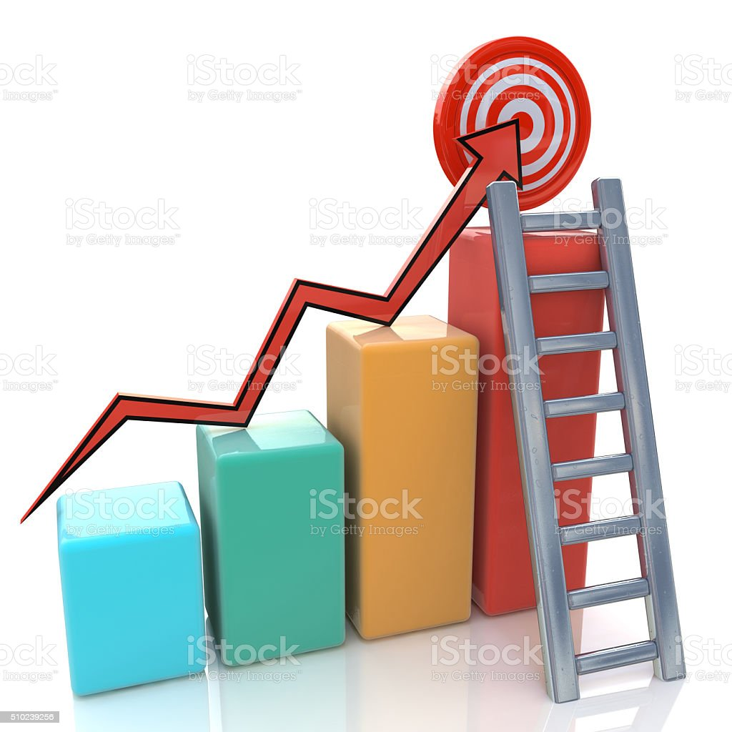 Business graph with rising arrow to target and ladder stock photo