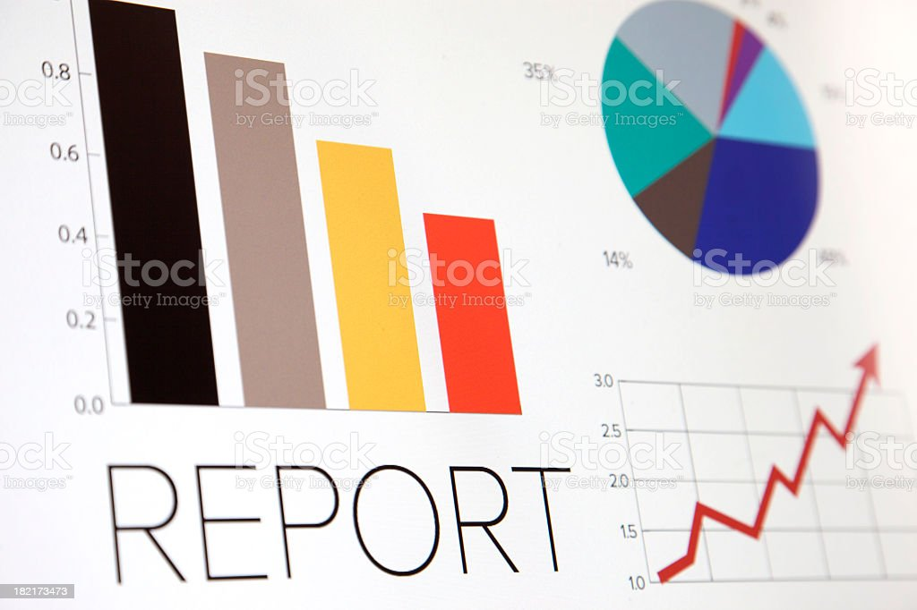 Business graphic of bar chart and pie chart royalty-free stock photo
