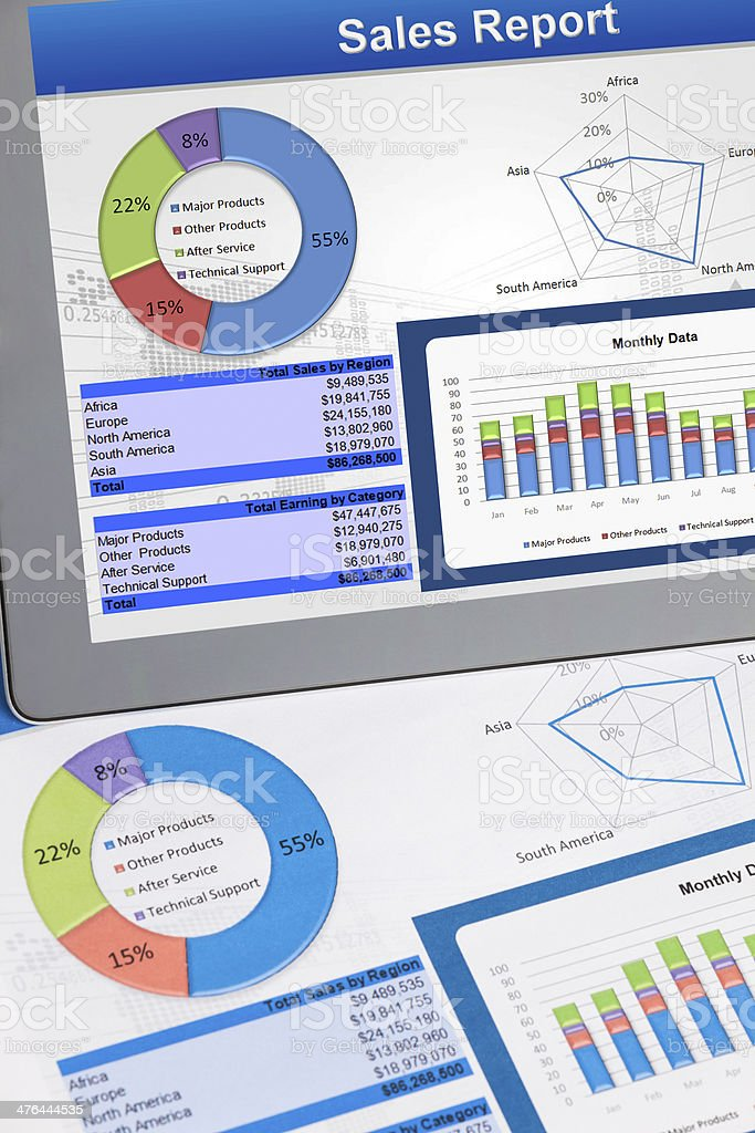 business graphs and charts on digital devices royalty-free stock photo