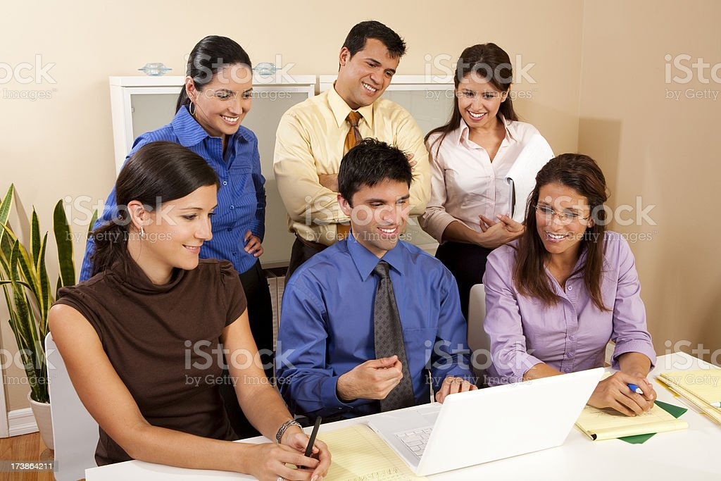 Business Group Around Computer royalty-free stock photo