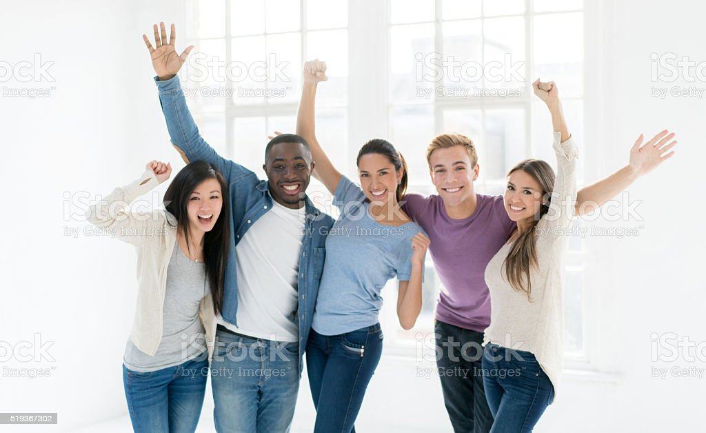 Business group celebrating an achievement stock photo