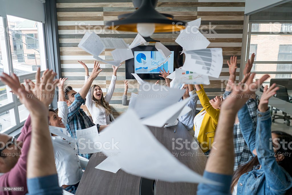 Business group celebrating their success stock photo