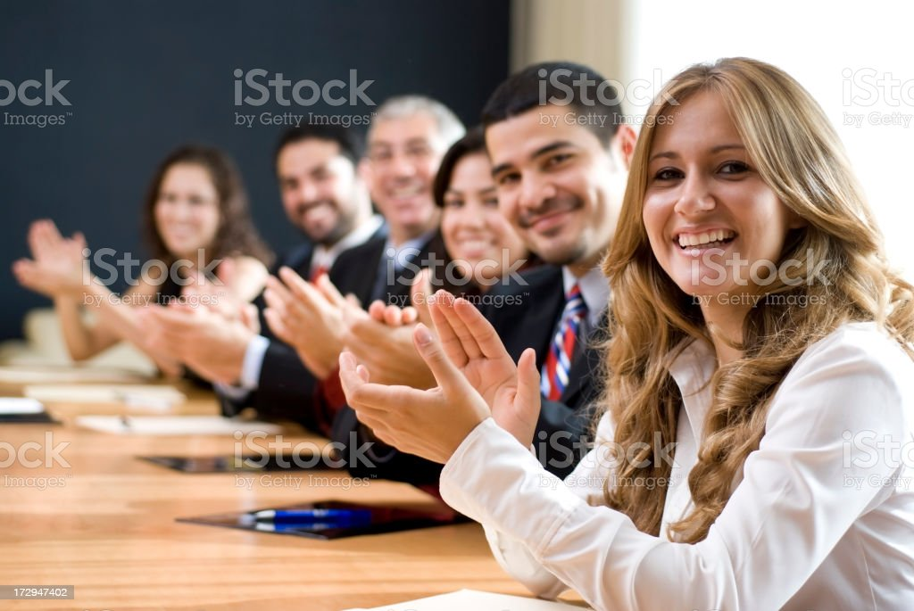 Business group congratulating royalty-free stock photo