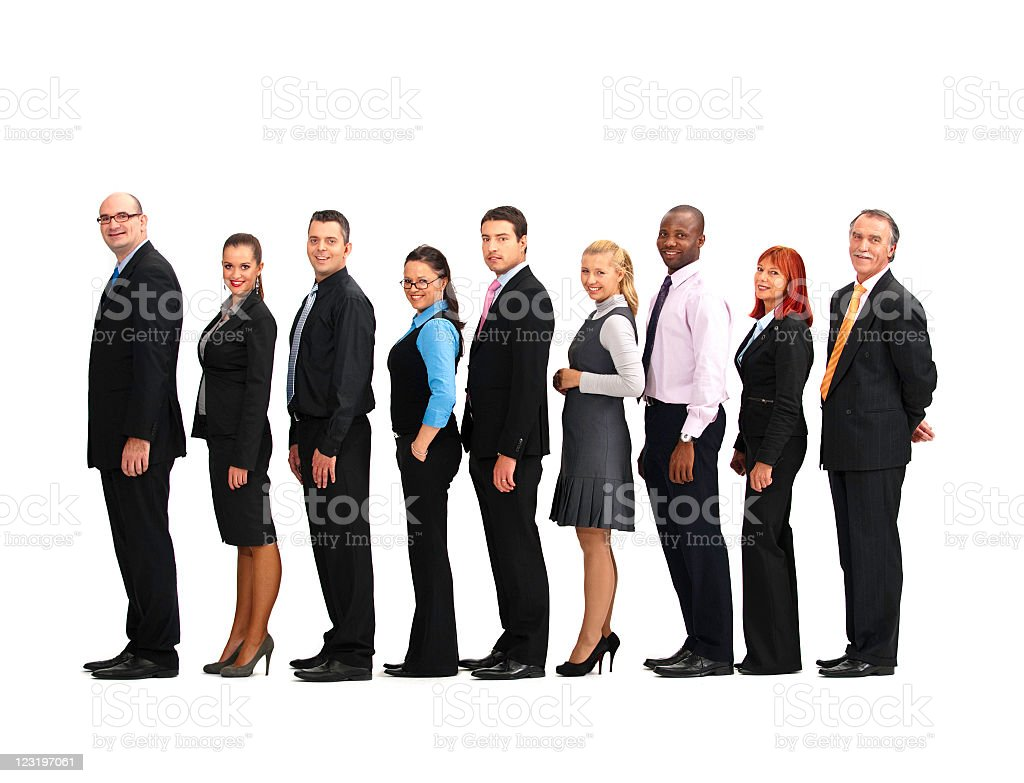 Business group in a row royalty-free stock photo