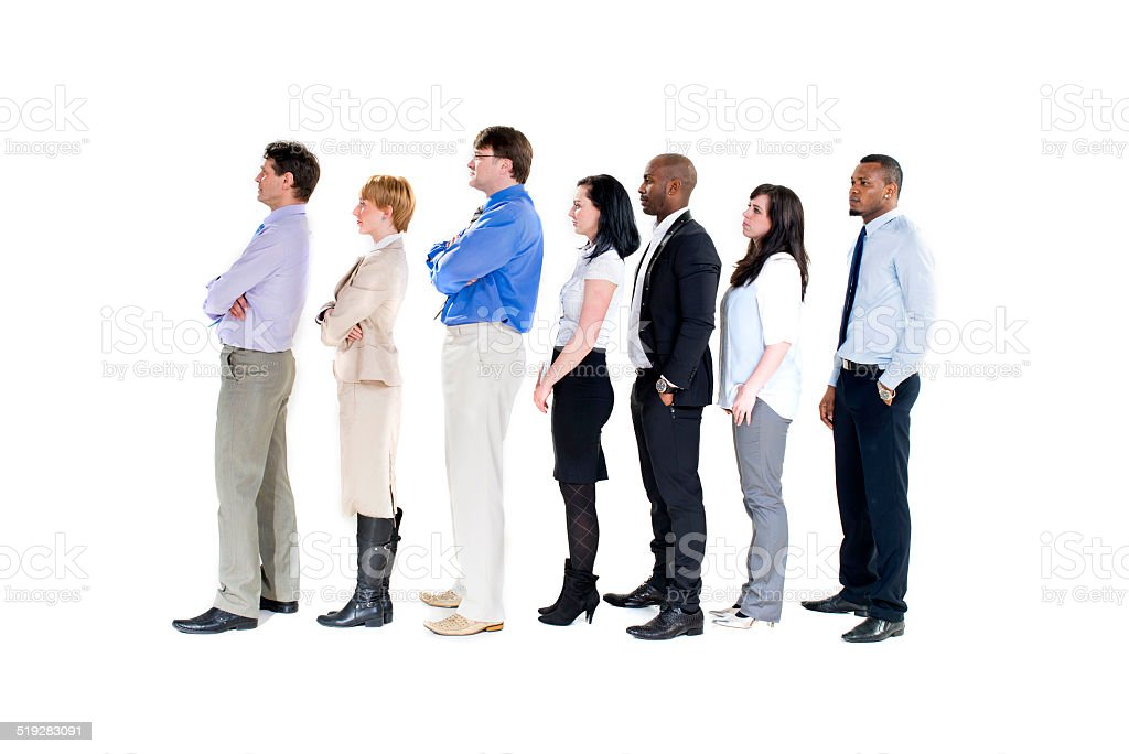 Business group in a row stock photo
