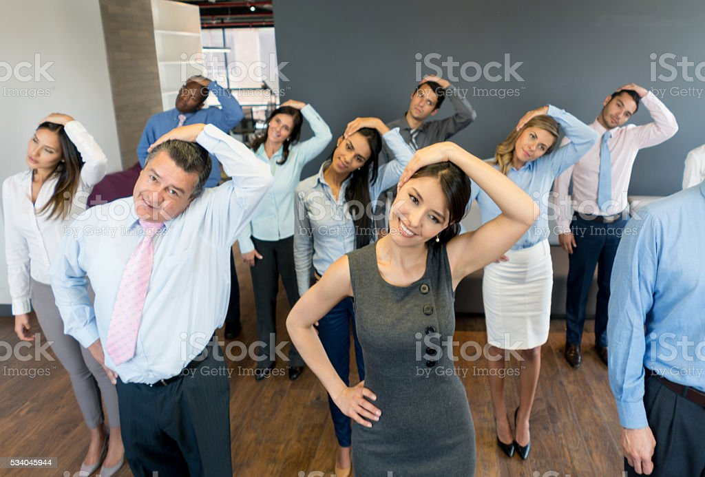 Business group in an active break stock photo