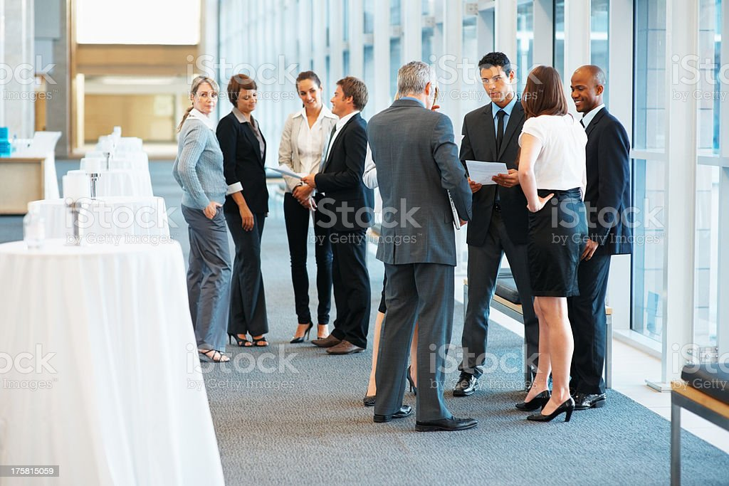 Business group in discussion stock photo