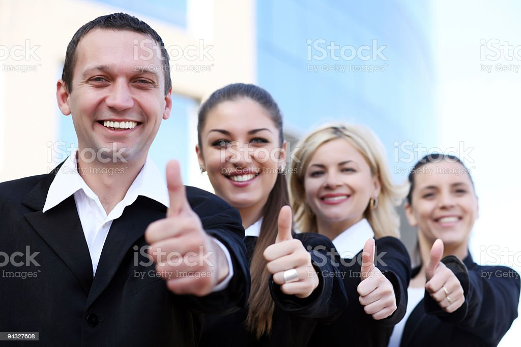 Business group showing okay sign. royalty-free stock photo