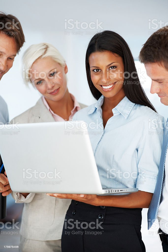 Business group with focus on attractive executive stock photo
