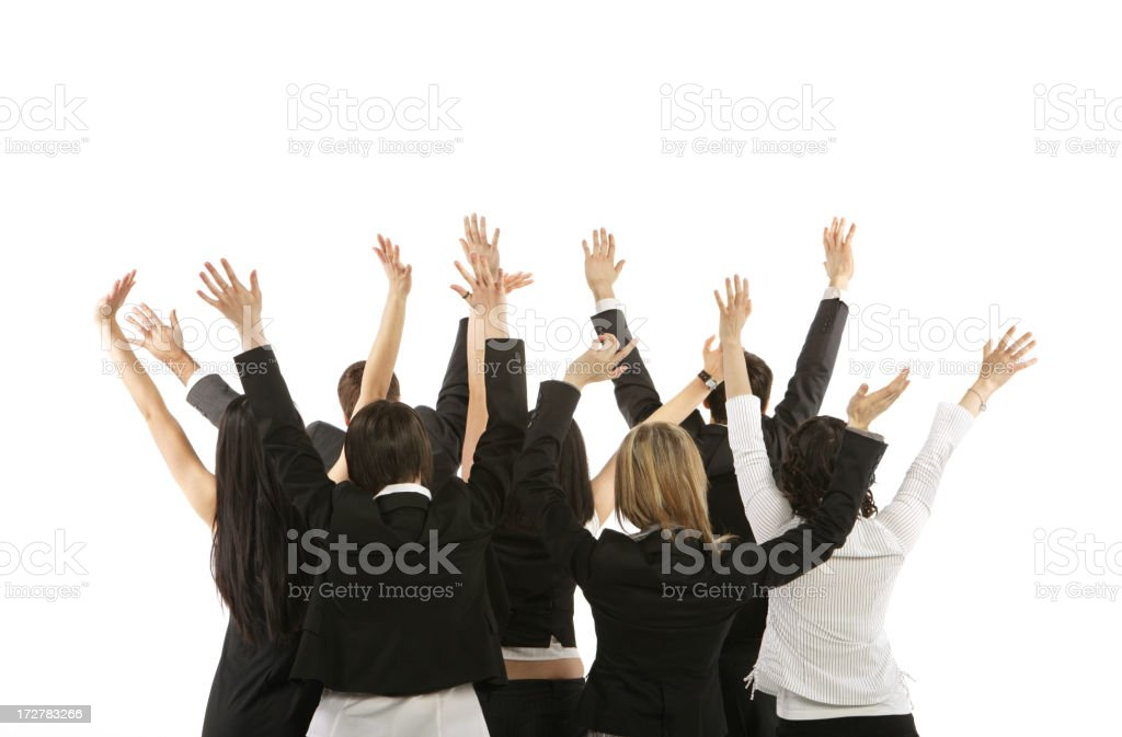 Business Group with Hands Up royalty-free stock photo