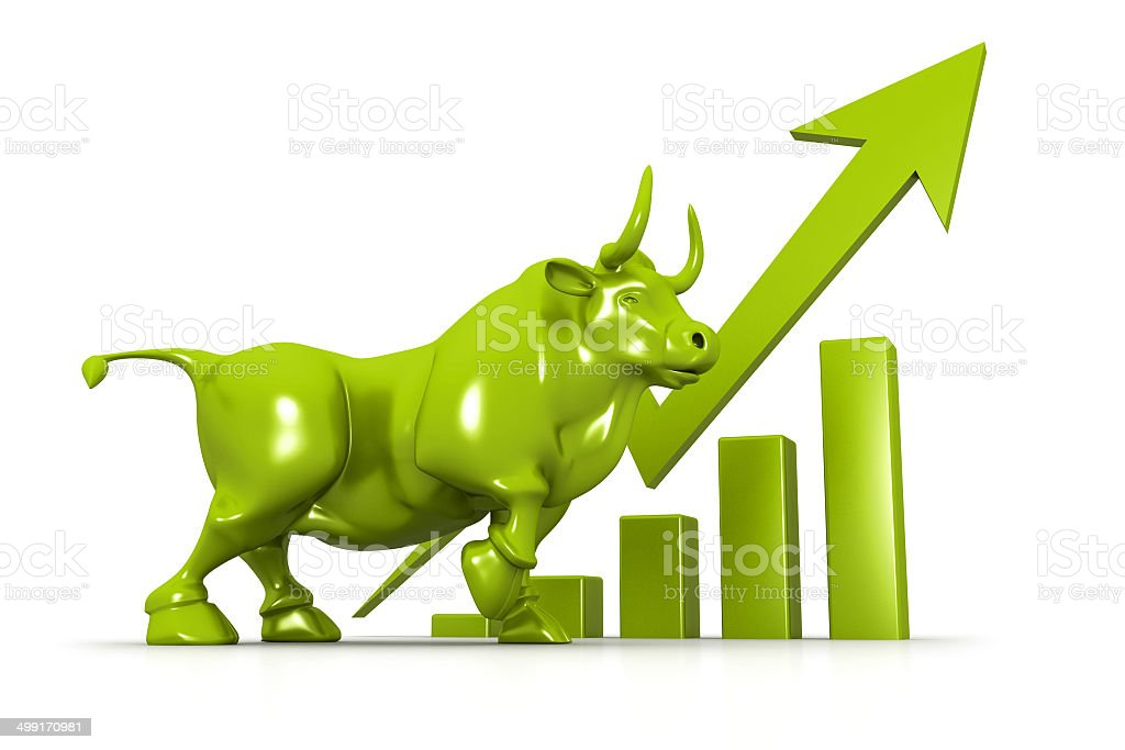 Business growth chart and bull vector art illustration