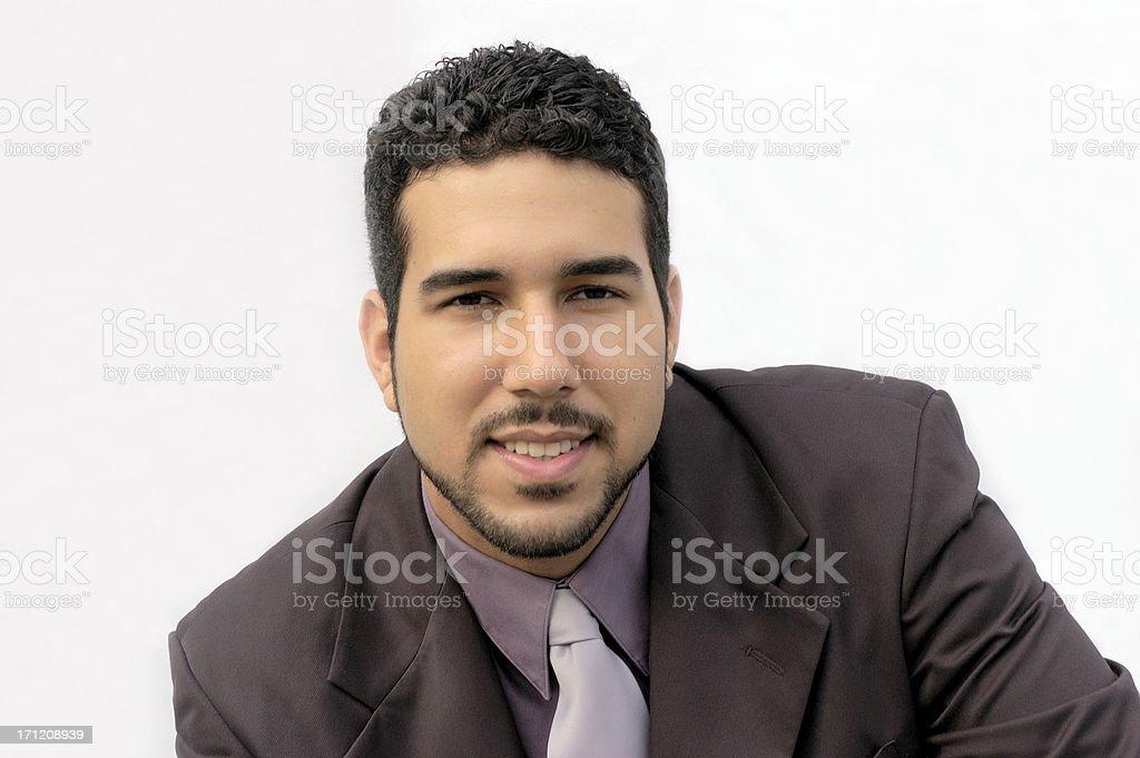 business guy listens stock photo