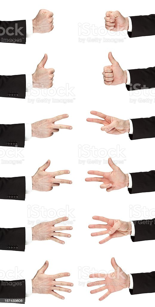 business hand count one to five isolated both sides royalty-free stock photo