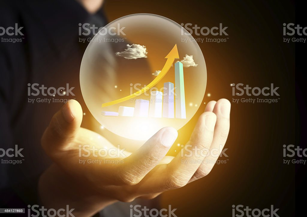 Business hand holding  hot chart stock photo