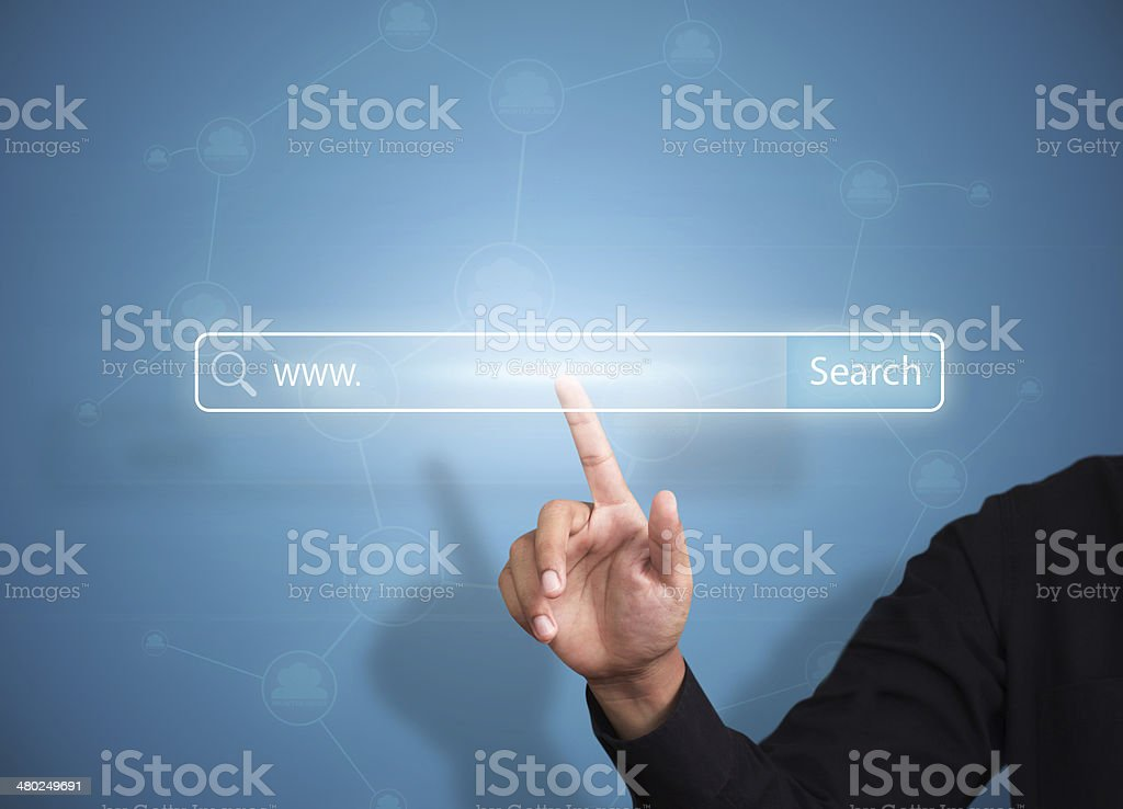 Business hand pressing Search button, Internet concept stock photo