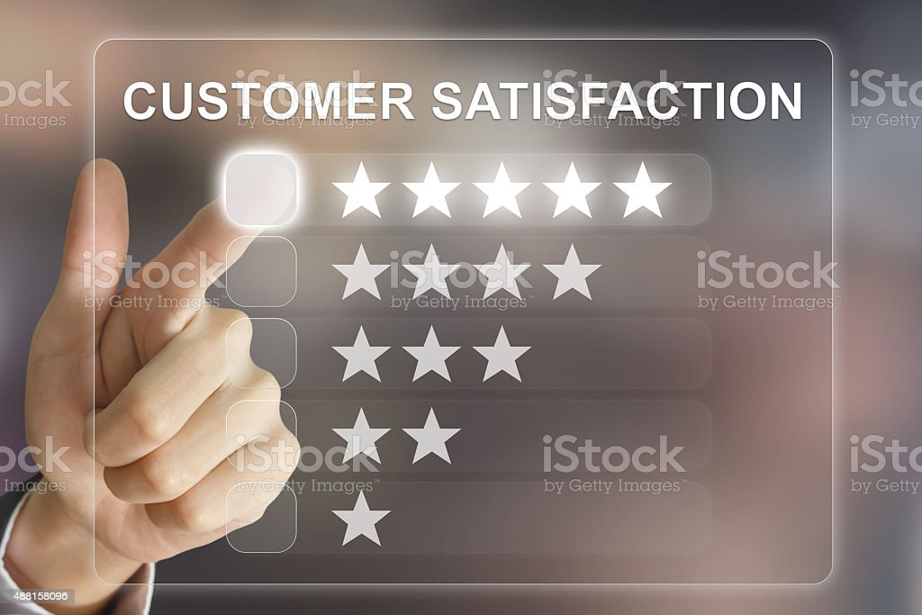 business hand pushing customer satisfaction on virtual screen stock photo