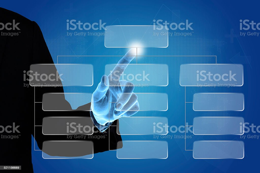business hand pushing organization chart stock photo