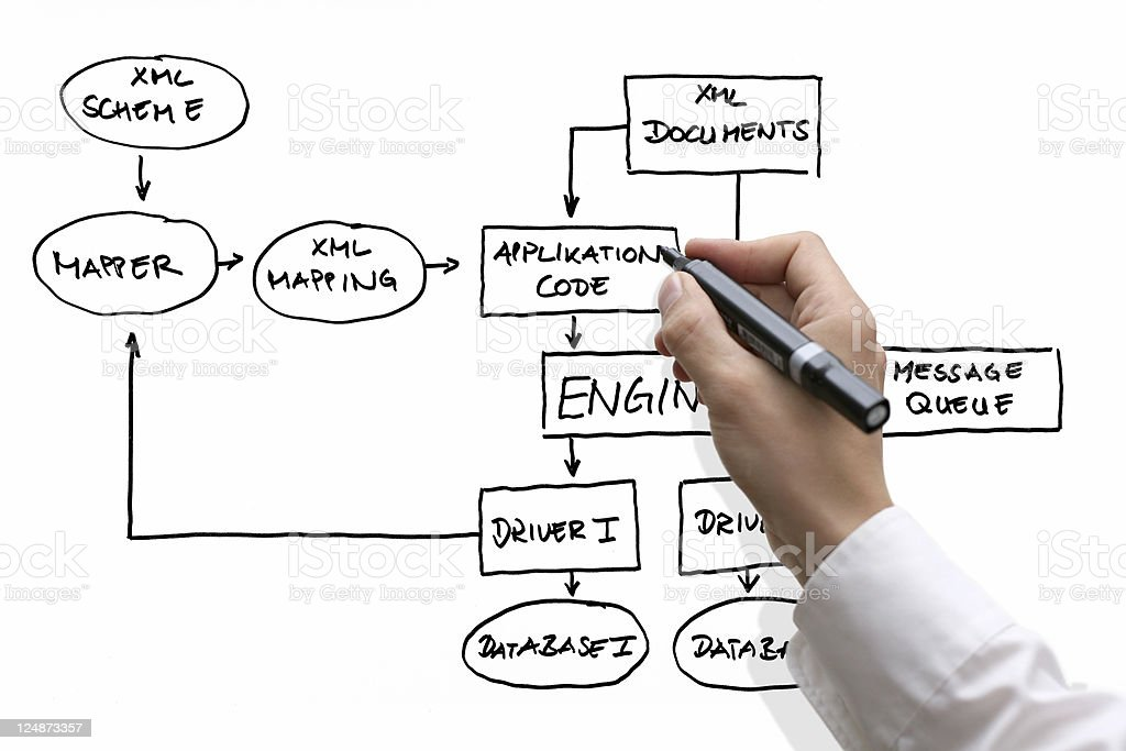 Business hand showing database structure royalty-free stock photo
