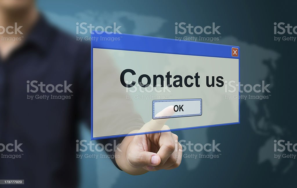 Business hand touch contact us royalty-free stock photo