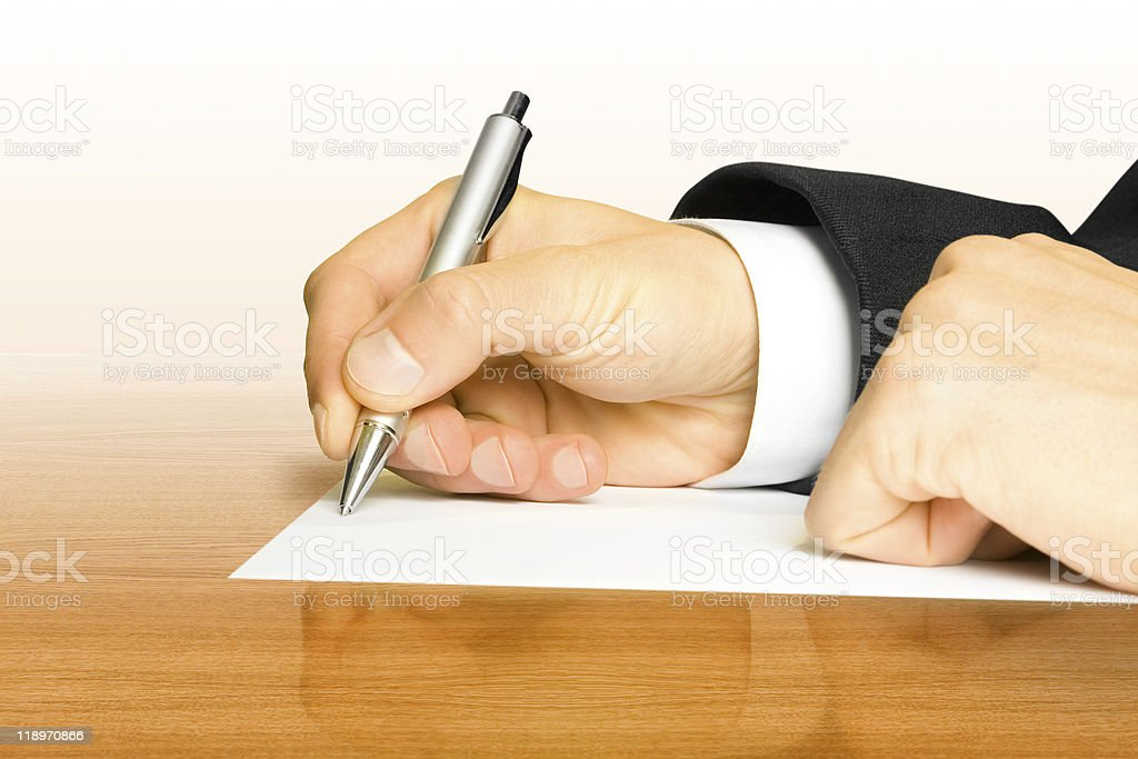 business. hand with pen royalty-free stock photo