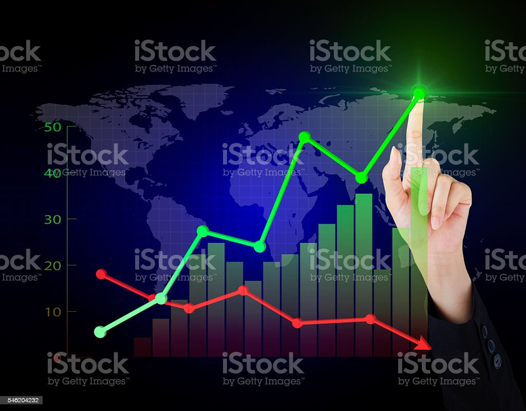 Business hand working economy of financial in the world. stock photo
