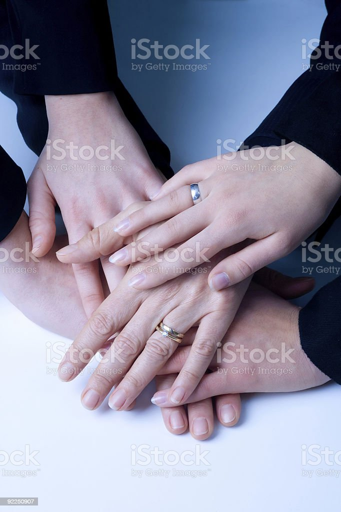 business hands of a successful women team stock photo