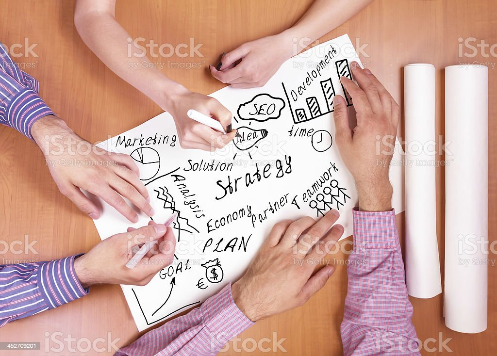 Business hands working with documents stock photo