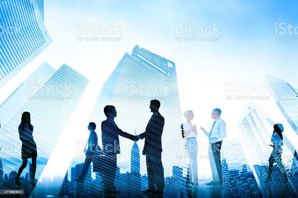 Business Handshake Corporate Meeting City Concept stock photo