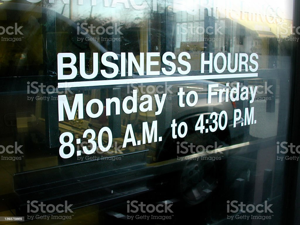 Business hours royalty-free stock photo