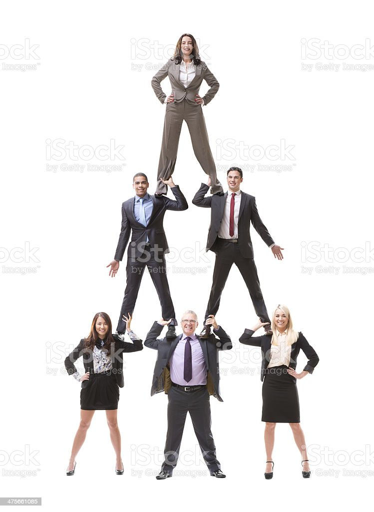 business human pyramid stock photo