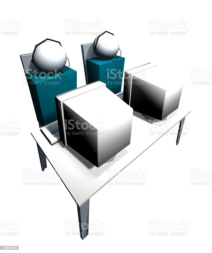Business Icons - 2 Students at PC's - Isolated V2 stock photo