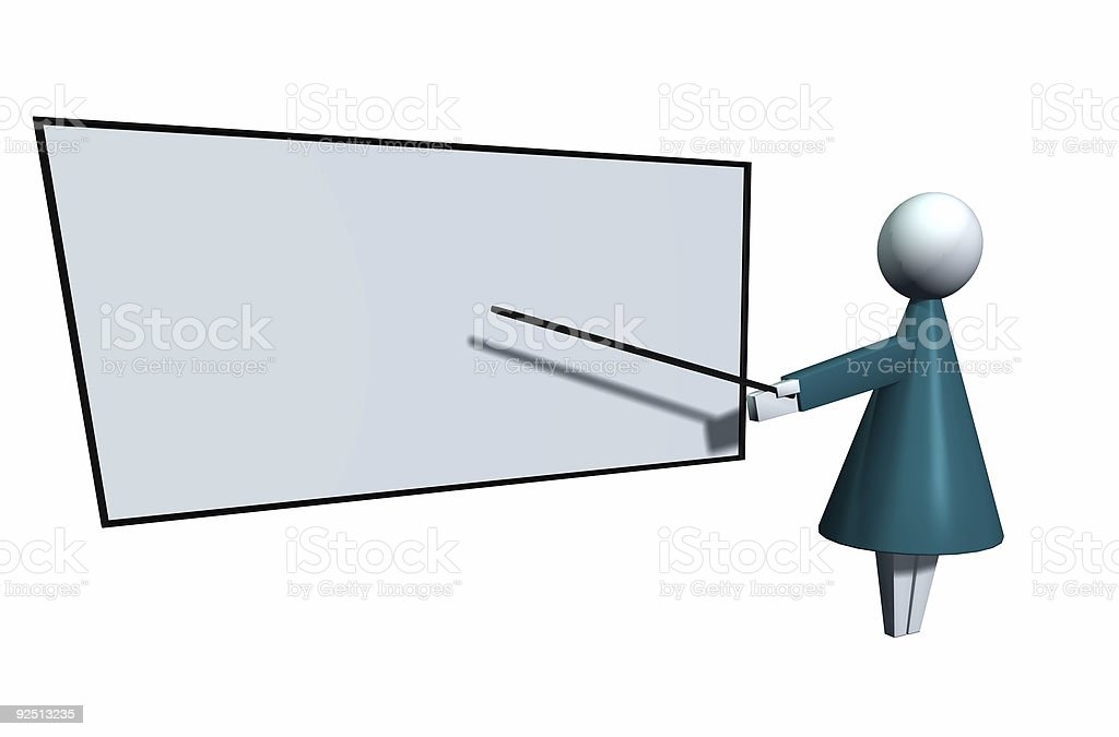 Business Icons Female Instructor with Whiteboard Isolated stock photo