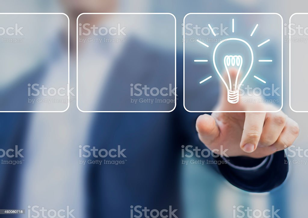Business idea concept with lightbulb symbol for innovation stock photo