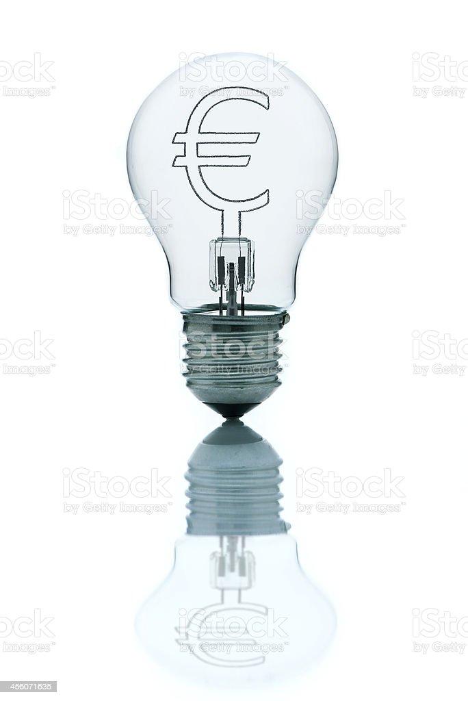 Business ideas; euro inside a light bulb royalty-free stock photo
