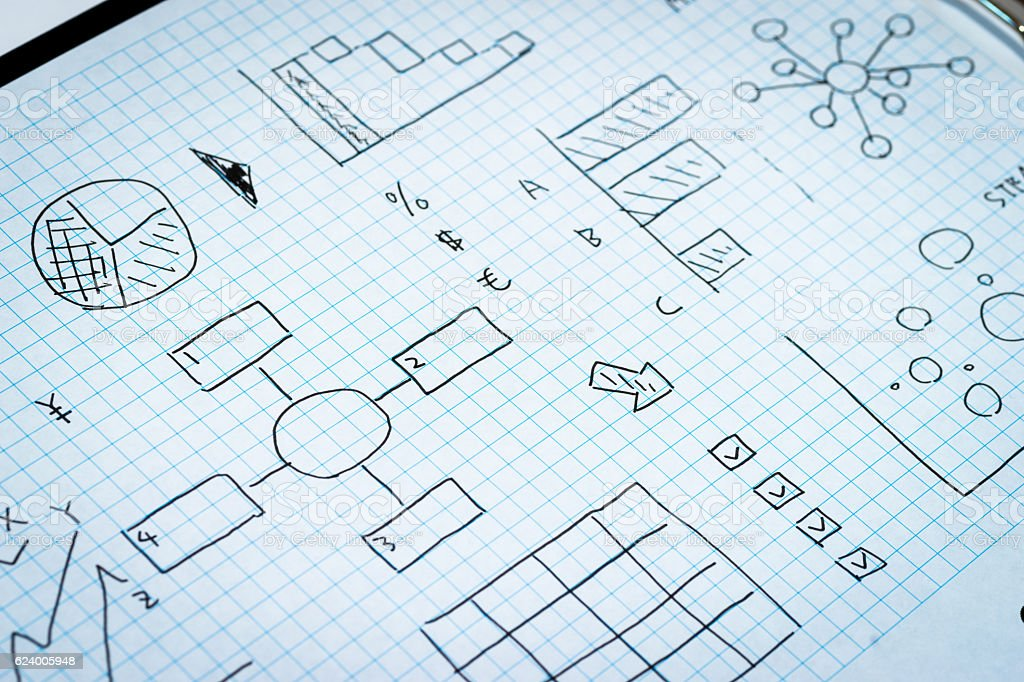 Business image, handwritten business graphs and charts stock photo