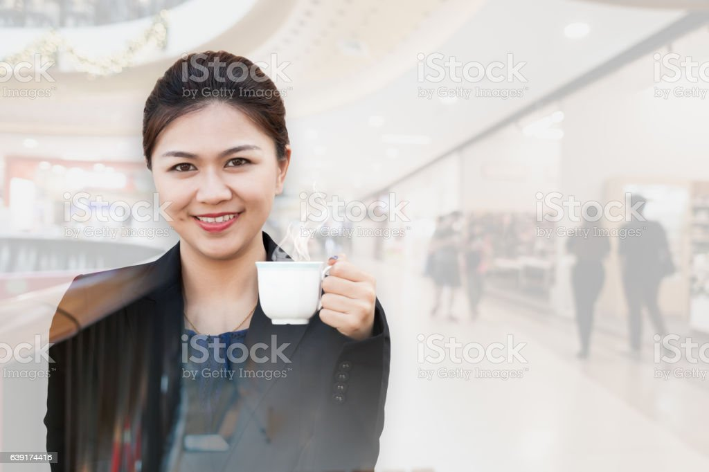 Business in coffee break with department store stock photo