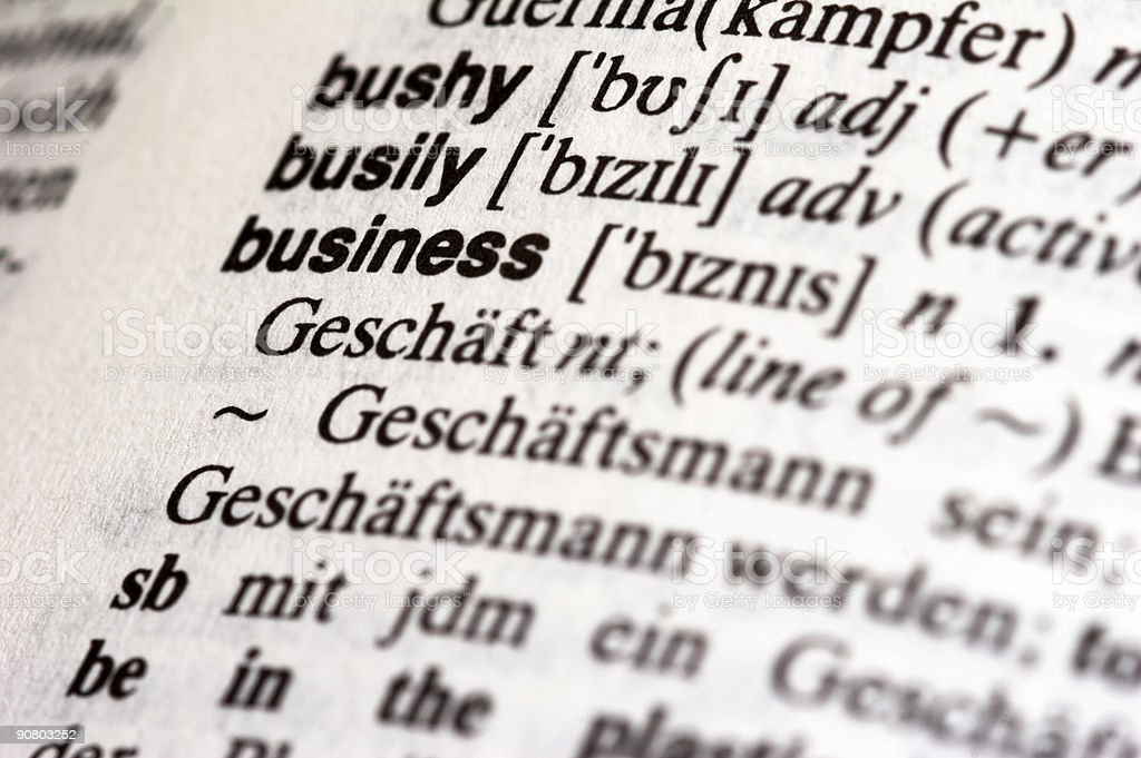 Business in dictionary stock photo