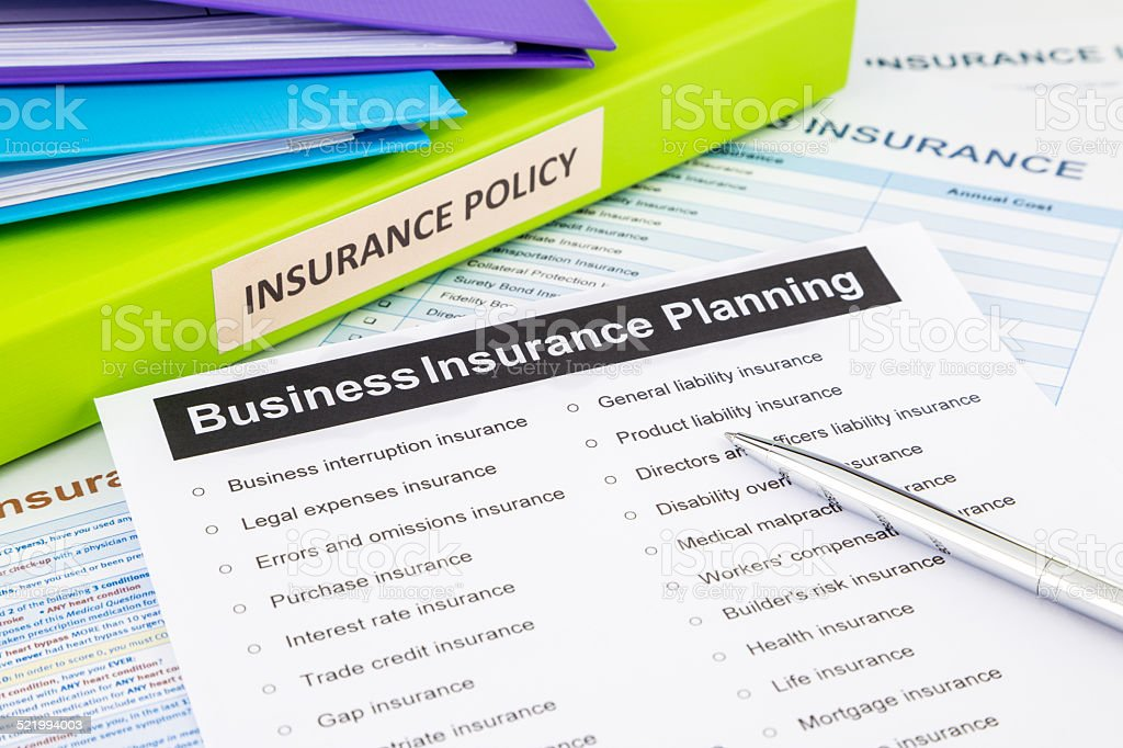 Business insurance planning checklist for risk management stock photo
