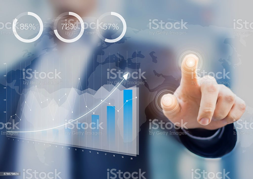 Business intelligence dashboard with key performance indicators stock photo