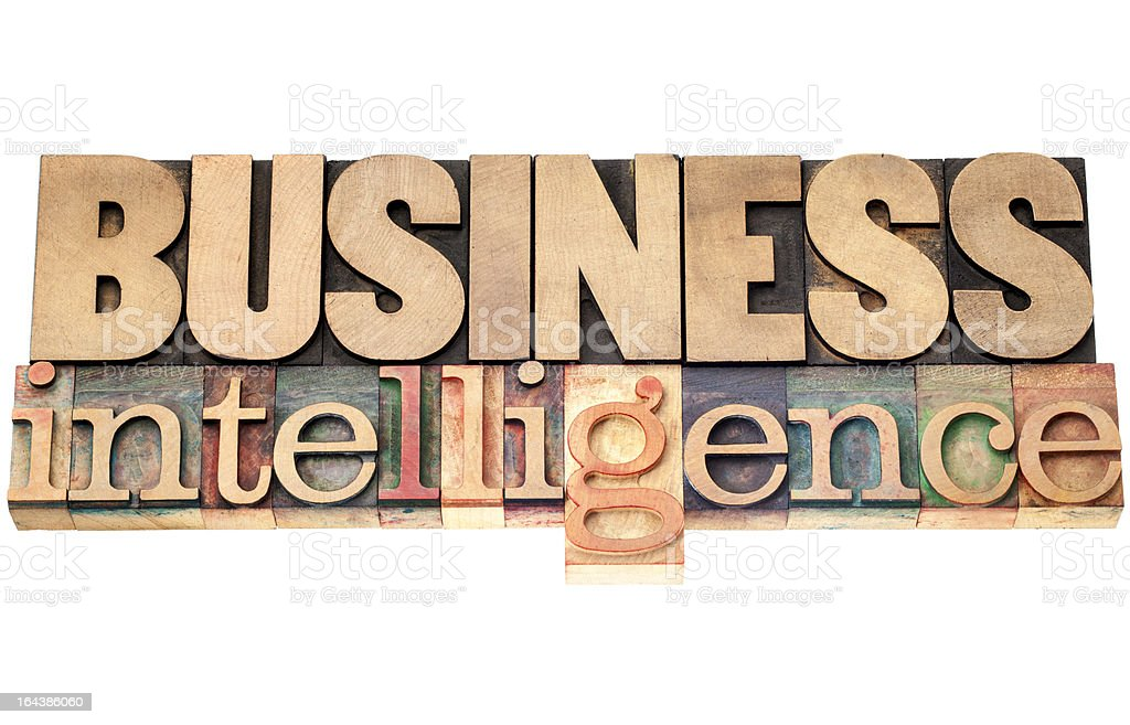 business intelligence in wood type royalty-free stock photo