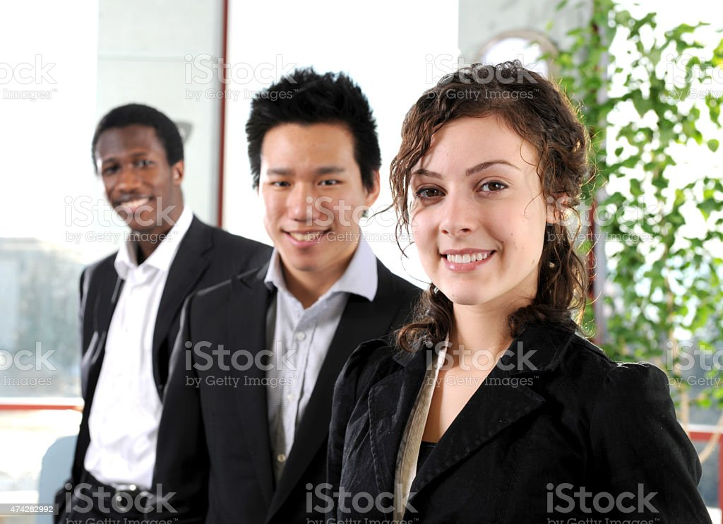 Business Interns Smiling stock photo