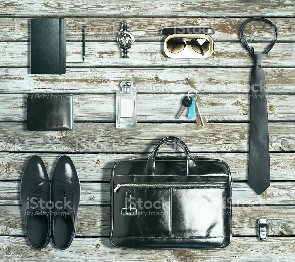 Business items on antique wood stock photo