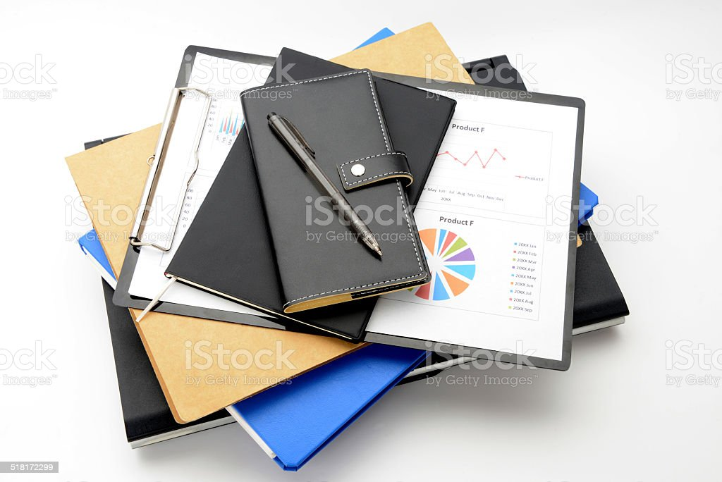 Business items on white background stock photo